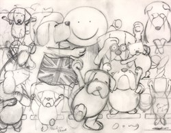 Fan-mily XII by Doug Hyde -  sized 8x7 inches. Available from Whitewall Galleries